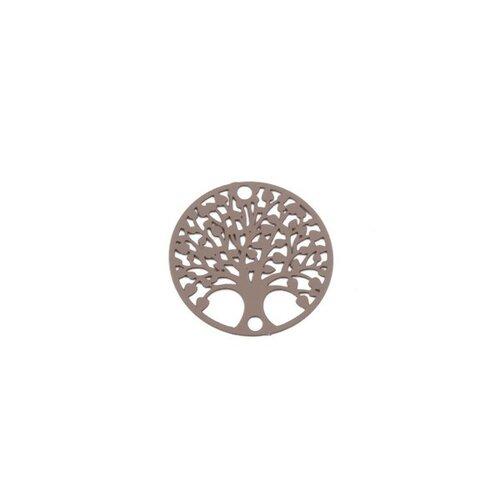 S110204878 pax 10 estampes pendentif connecteur filigrane medaillon arbre à coeur beige taupe de 20mm