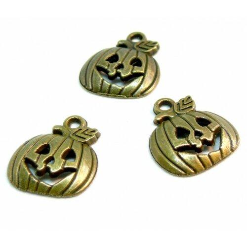 Ps110210093 pax 25 pendentifs breloque citrouille potiron halloween metal couleur bronze