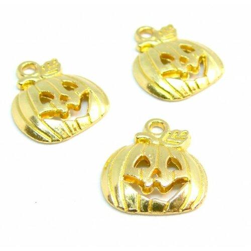 Ps110210092 pax 25 pendentifs breloque citrouille potiron halloween metal couleur doré