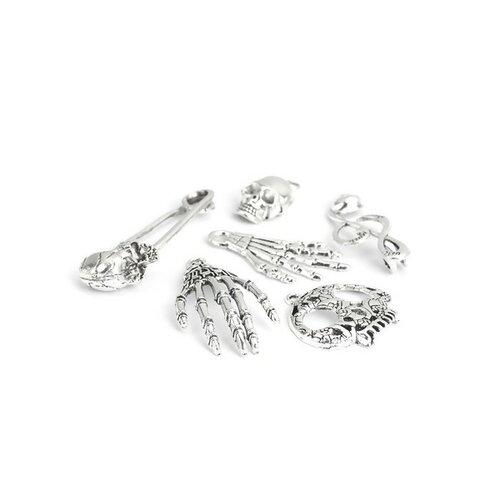 S11201260 set de 6 pieces pendentifs breloque tête de mort, crane, squelette, halloween metal couleur argent antique