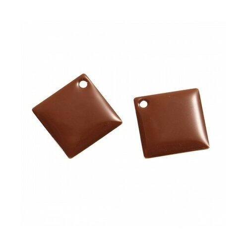 S1191547 pax 5 sequins médaillons émaillés biface losange 24mm marron