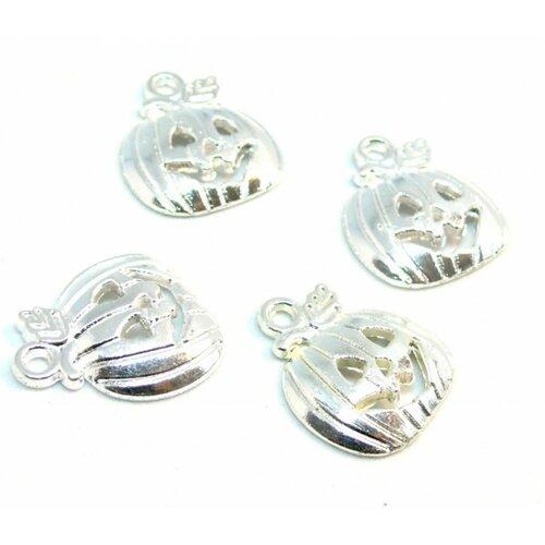 Ps110210095 pax 25 pendentifs breloque citrouille potiron halloween metal couleur argent viforé
