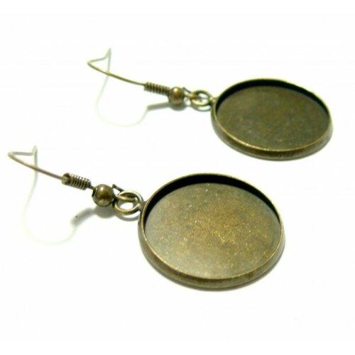 Bn1126764 pax 10 boucles d'oreille crochet qualité laiton 18mm métal couleur bronze