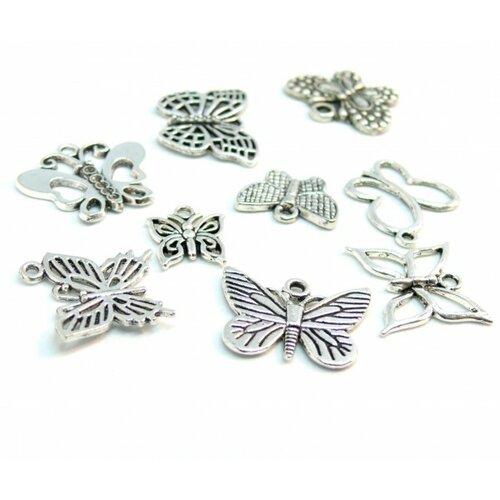 S110132877 lot de 9 pendentifs papillon differents modèles métal couleur argent antique