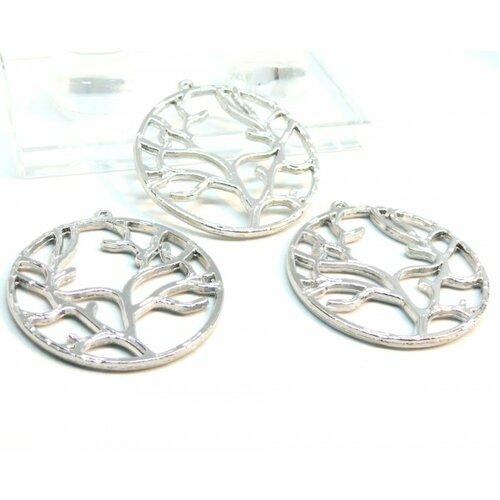 101112160323 pax 5 pendentifs breloque arbre dans cercle 40mm métal couleur argent platine