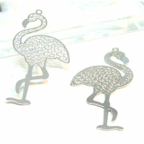 Ps110206589 pax 5 estampes pendentif filigrane grand flamant rose 44mm cuivre couleur argent platine