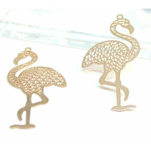 Ps110206588 pax 5 estampes pendentif filigrane grand flamant rose 44mm cuivre couleur doré