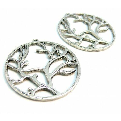 101112160323 pax 5 pendentifs breloque arbre dans cercle 40mm métal couleur argent antique