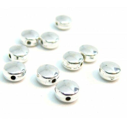 Ps110202804 pax 100 perles intercalaires rondes plates 6mm métal couleur argent platine