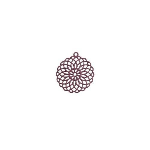 S110206553 pax 10 estampes pendentif connecteur filigrane rosace mandala violet pourpre 30mm