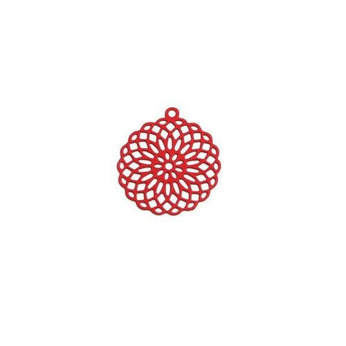 S110206554 pax 10 estampes pendentif connecteur filigrane rosace mandala rouge 30mm