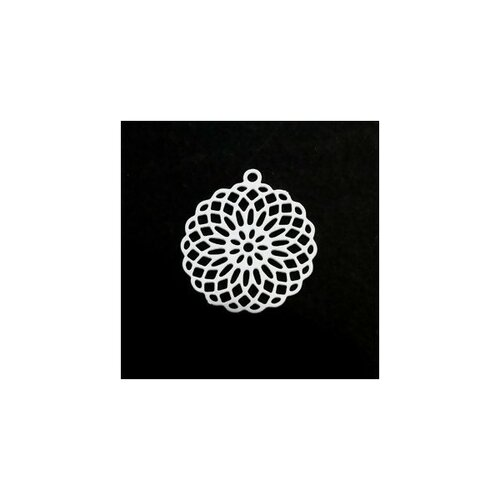 S110206556 pax 10 estampes pendentif connecteur filigrane rosace mandala blanc 30mm