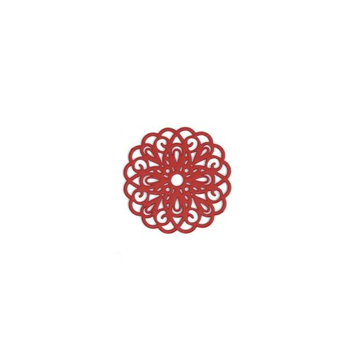 Ps110200249 pax 5 estampes pendentif connecteur filigrane rosace mandala rouge 25mm
