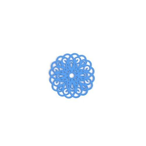 Ps110200247 pax 5 estampes pendentif connecteur filigrane rosace mandala bleu 25mm