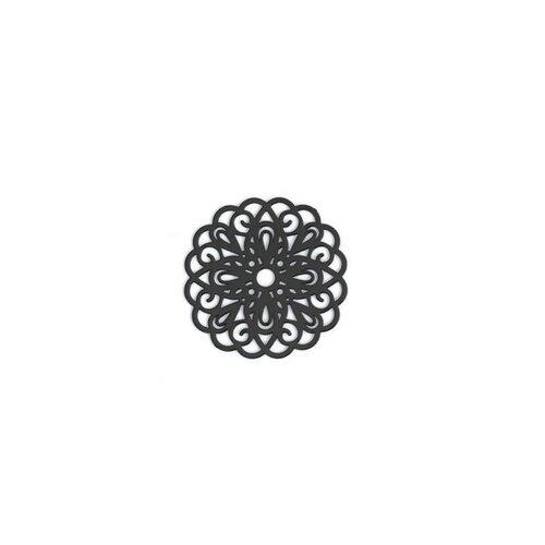 Ps110200248 pax 5 estampes pendentif connecteur filigrane rosace mandala noir 25mm