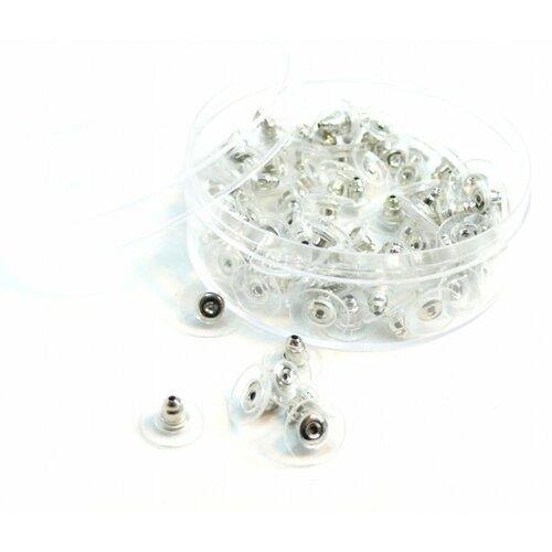 171110140845b pax 1 boite de 100 embouts poussoir tube et plastique pour boucle d'oreille puce couleur argent platine