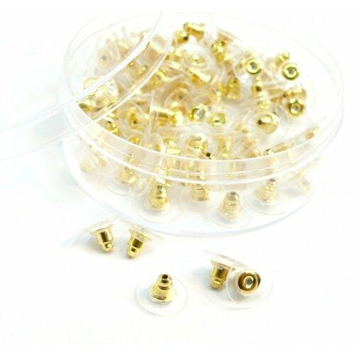 171110140845f pax 1 boite de 100 embouts poussoir tube et plastique pour boucle d'oreille puce couleur doré