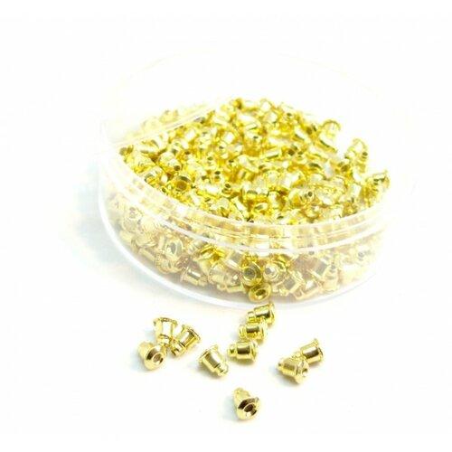 171110140845g pax 1 boite de 200 embouts poussoir tube pour boucle d'oreille puce couleur doré