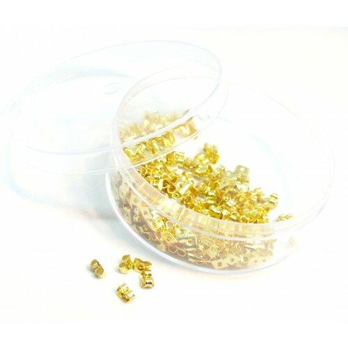 171110140845h pax 1 boite de 200 embouts poussoir papillon pour boucle d'oreille puce couleur dorée