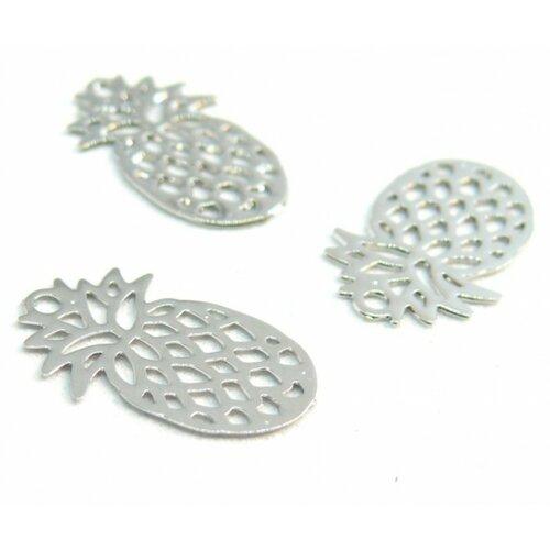 Ps110206594 pax 20 estampes pendentif petit ananas argent platine 15mm