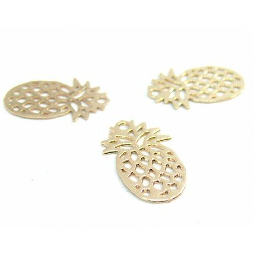 Ps110206595 pax 20 estampes pendentif petit ananas doré 15mm