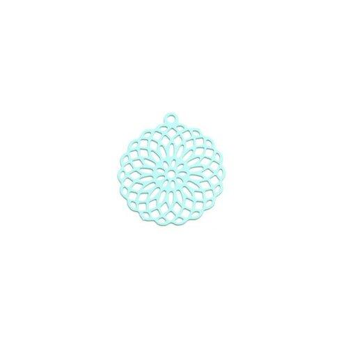 S110206558 pax 10 estampes pendentif connecteur filigrane rosace mandala bleu ciel 30mm