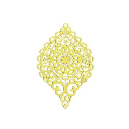 S110143649 pax 4 estampes pendentif connecteur filigrane ovale travaillé jaune pailleté 58mm