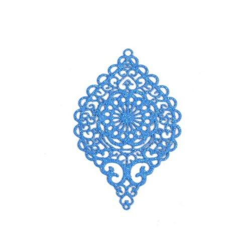 S110143650 pax 4 estampes pendentif connecteur filigrane ovale travaillé bleu pailleté 58mm