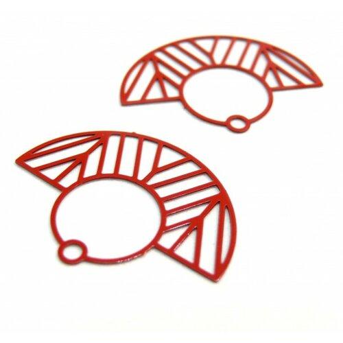 Ae115547 lot de 4 estampes pendentif filigrane demi cercle art deco rouge 23 par 30mm