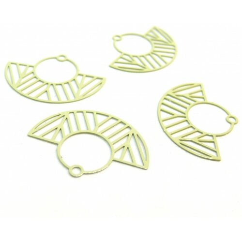 Ae115547 lot de 4 estampes pendentif filigrane demi cercle art deco vert pastel 23 par 30mm