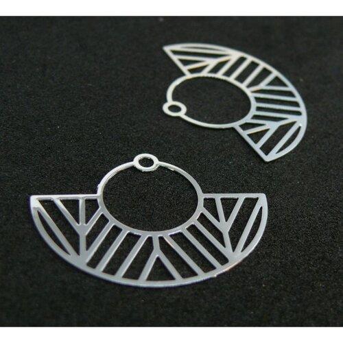 Ae115547 lot de 4 estampes pendentif filigrane demi cercle art deco argent vif 23 par 30mm