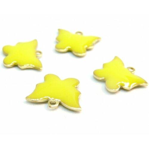 2 pendentifs papillon jaune résine emaille biface sur metal doré 10mm