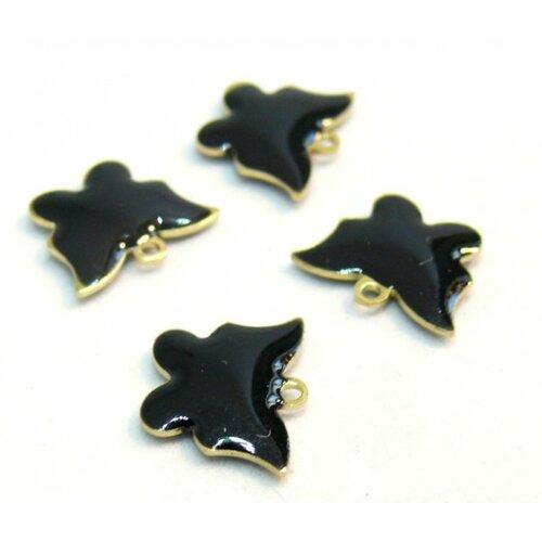 2 pendentifs papillon noir résine emaille biface sur metal doré 10mm