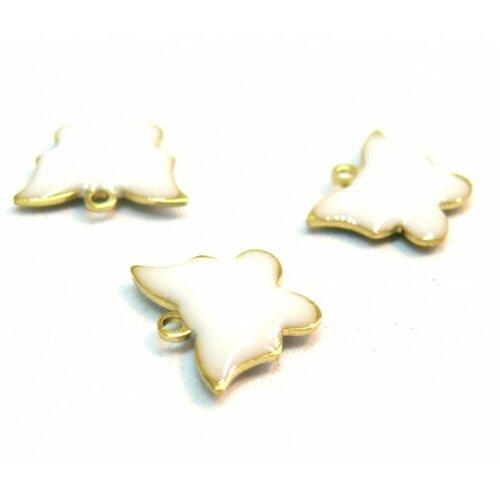 2 pendentifs papillon blanc résine emaille biface sur metal doré 10mm
