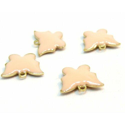 2 pendentifs papillon rose peche résine emaille biface sur metal doré 10mm