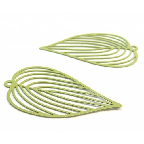 Ae115228 lot de 2 estampes pendentif filigrane grande feuille exotique vert kaki clair 25 par 42mm