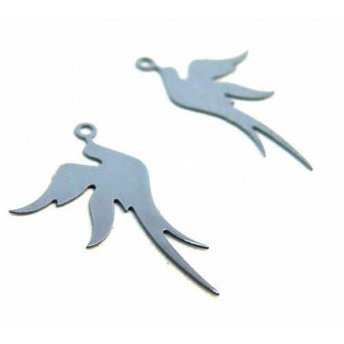 Ae113412 lot de 4 estampes pendentif filigrane oiseau gris 19 par 23mm