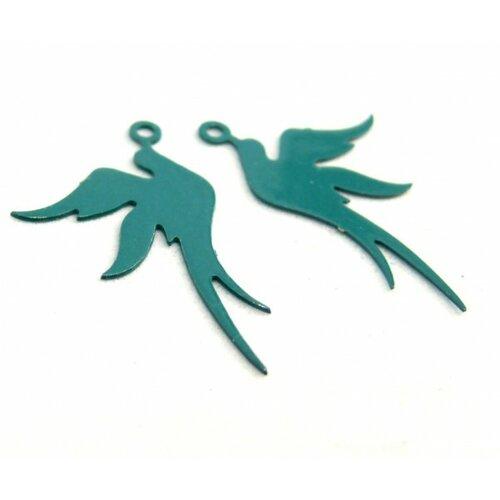 Ae113412 lot de 4 estampes pendentif filigrane oiseau bleu vert canard 19 par 23mm