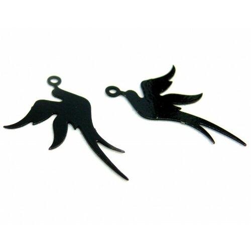 Ae113412 lot de 4 estampes pendentif filigrane oiseau noir 19 par 23mm