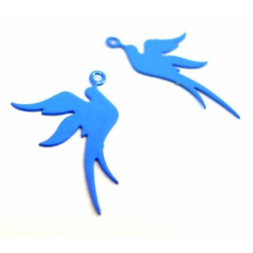 Ae113412 lot de 4 estampes pendentif filigrane oiseau bleu roi 19 par 23mm
