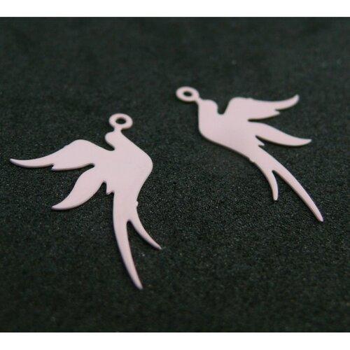 Ae113412 lot de 4 estampes pendentif filigrane oiseau rose 19 par 23mm