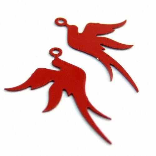 Ae113412 lot de 4 estampes pendentif filigrane oiseau rouge 19 par 23mm