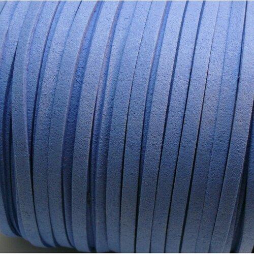 S1130 lot de 5m de cordon en suédine aspect daim bleu 5mm