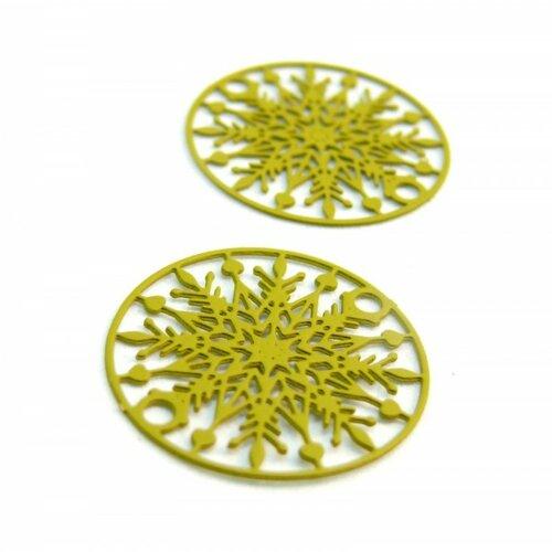 Ps110204867 pax 10 estampes pendentif connecteur filigrane medaillon flocon de neige jaune moutarde 20mm
