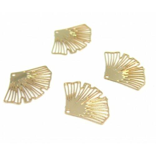 C9865 lot 4 estampes pendentif filigrane mini ginkgo biloba couleur doré de 15mm