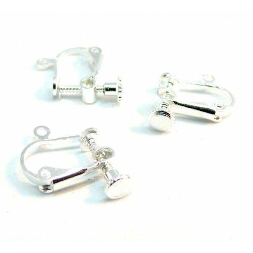 180728151658 pax 10 supports de boucles d'oreille clips à vis couleur argent vif avec attache qualité laiton