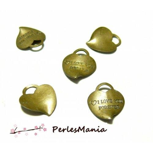 50 pendentifs i love you forever ref 196 bronze accessoires pour création de bijoux