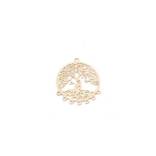 Ps110200105 pax 5 estampes pendentif multiconnecteur filigrane arbre et racines couleur doré de 29mm