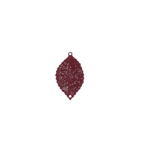 S110204947 pax 10 estampes pendentif multiconnecteur filigrane feuille couleur rouge vin de 25mm