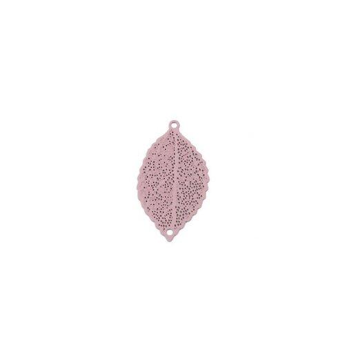 S110204944 pax 10 estampes pendentif multiconnecteur filigrane feuille couleur vieux rose de 25mm